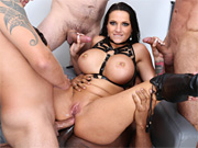 Busty bombshell gets all fun holes banged by the entire gang
