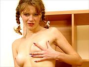 Braided pigtils slender coed girl strips