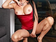 Kimberlee's shemale lingerie could not contain her massively hard