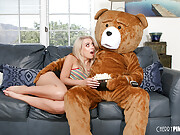Yummy blonde chick has sex with a guy in a bear costume