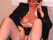 Jules Online in white lingerie and stockings