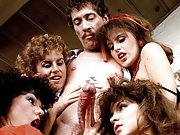 Vintage John Holmes gets sucked by four babes