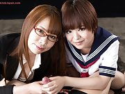 Meril and Miharu handjob a foreigners big cock for nasty cum shots