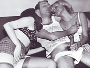 Vintage threesome with hairy pussy girls