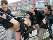 German slut Sarah Sun with a friend enjoying outdoor group sex on public