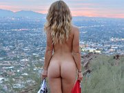 Hiking exhibitionist gets naked on some public trails