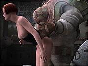 Steampunk robot inspects 3d babe