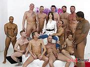 Europornstar Susan Ayn gangbanged by 12 guys.