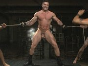 Four ripped men in bdsm roleplay down in a dungeon
