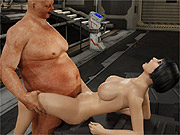 Drilling chesty 3d babe by a fat man