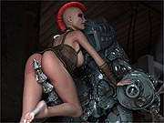 Robot bangs 3d mohawk rebel slut