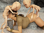 Tied up 3d babe banged by little creatures