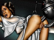 Famous Star Wars heroes Anakin and Leia in hardcore orgies