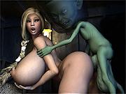 Jumbo tits blonde fucked by alien