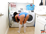 Hot ass Asian girlfriend gets banged on the laundry room floor