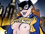 Famous film hero Batman and his girlfriend Batgirl are fucking hard