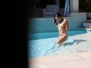Ebony bikini teen busting and fucking a lucky perv voyeur