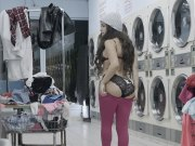 Big tit teen busted and fucked at laundromat by voyeur