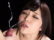 Shino Aoi suck two cocks and take cum on her pace