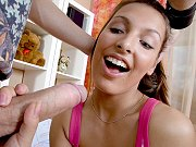 Pretty russian teen Karla getting screwed and jizzed by a massive cock
