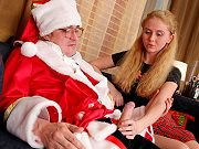 Blonde teen student Adeline Nicole fucking her teacher in Santa outfit