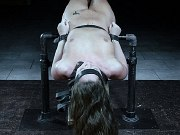 Maddy OReilly brunette is bound and spanked in bdsm dungeon