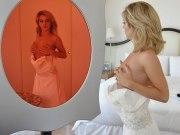 Kinky blonde bridesmaid fucks in wedding dress