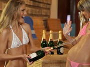 Petite lesbian cuties perform champagne shower by the indoor pool