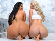 Two naughty lesbians licking and toying tight snatches