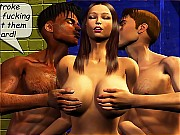 Two lusty guys seduced brunette breasty girl in the shower to fuck hard