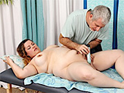 BBW gets naked and shows it all before getting her pussy wanked by her masseur