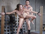 Zoey Laine bound to two poles and double fucked by maledoms