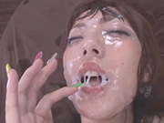 Continuous semen covered japanese bukkake sex
