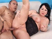 Busty fat brunette mature Alexis Couture giving a blowjob and fucking