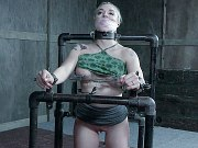 Leya Falcon busty blonde is strap bound in uneven bars and toyed