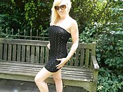 Blonde exhibitionist babe Axa Jay flashes tits outside and fingers pussy public