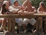 Kinky folks enjoy ses session inside a forest gazebo