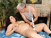 Horny plumper gets naked and let her masseur wank her plump pussy using toys
