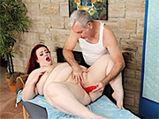 Redhead fatty gets her pussy rubbed and wanked good by her masseur