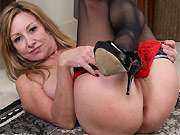 Rachel Woodbury busty mature blonde in stockings strips
