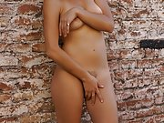 South American public nudity and outdoor flashing of brunette latina babe