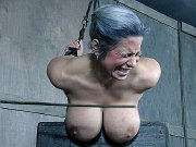 Alyssa Lynn busty trapped and spanked in metal dungeon bondage
