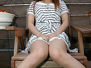 Hairless Japanese teen gives outdoors upskirts and panty peeks