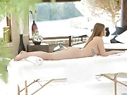 Hot ass Hungarian girl rides dick on the massage table