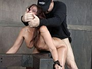 Syren De Mer busty is strap bound for fucking by male dominants