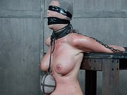 Syren De Mer chained and blindfolded for toying and ass spanking