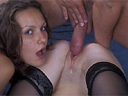 Two horny sluts in stockings fucks with guy in ffm groupsex