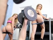 Hot blonds sharing lucky dudes dick at the gym