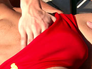 Watch 29 minutes of this stud in his red speedos getting his cock sucked.