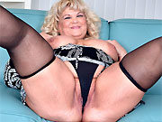 Bigboobs fat mature blonde in black stockings strips